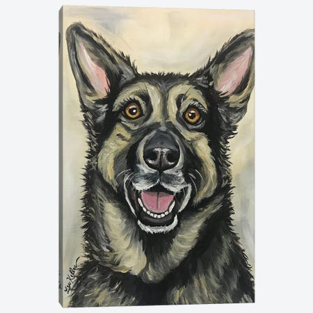 German Shepherd On Cream Canvas Print #HHS114} by Hippie Hound Studios Canvas Print