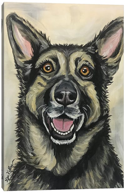 German Shepherd On Cream Canvas Art Print
