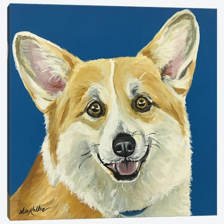 Liz The Corgi Canvas Print #HHS117} by Hippie Hound Studios Canvas Print