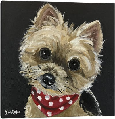 Yorkie Wearing Red Bandana Canvas Art Print
