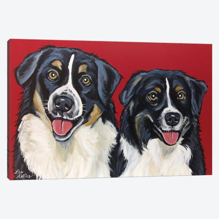 Border Collie Buddies Canvas Print #HHS130} by Hippie Hound Studios Canvas Art