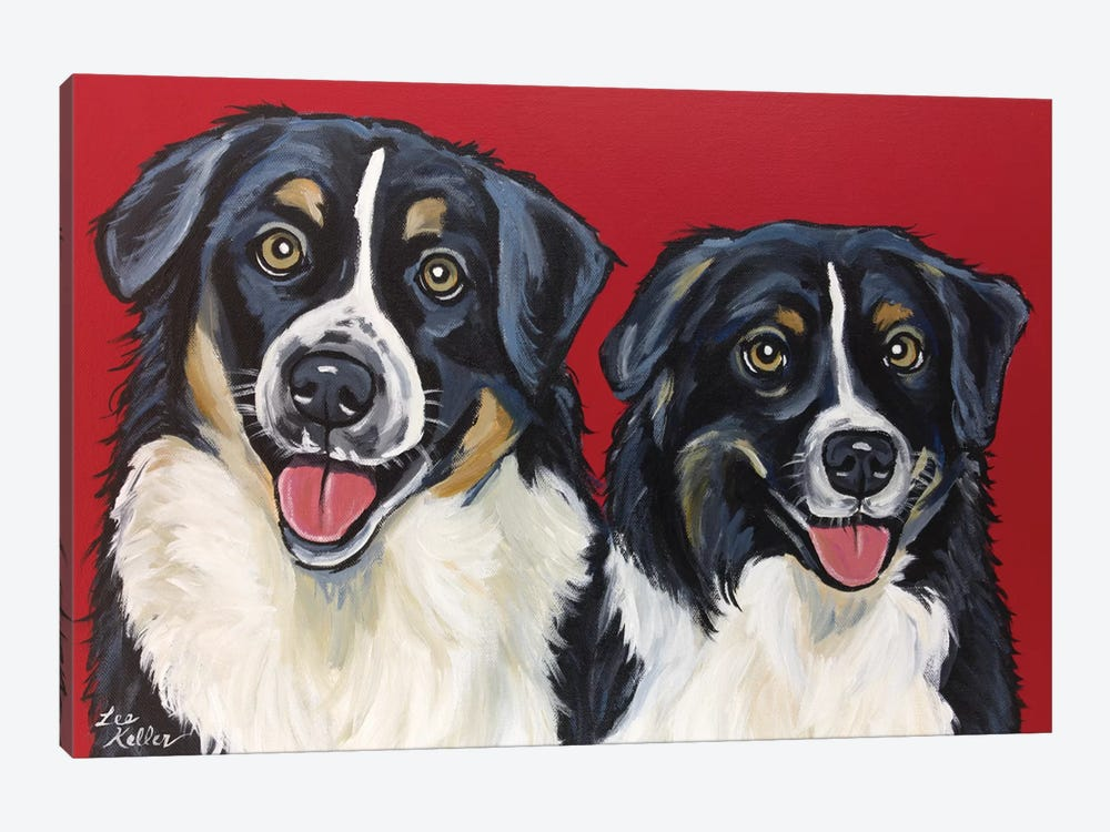 Border Collie Buddies by Hippie Hound Studios 1-piece Canvas Art Print
