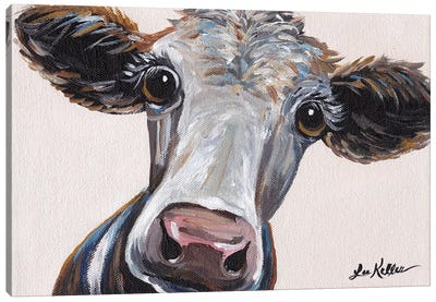 Cora The Cow On Neutral Canvas Art Print
