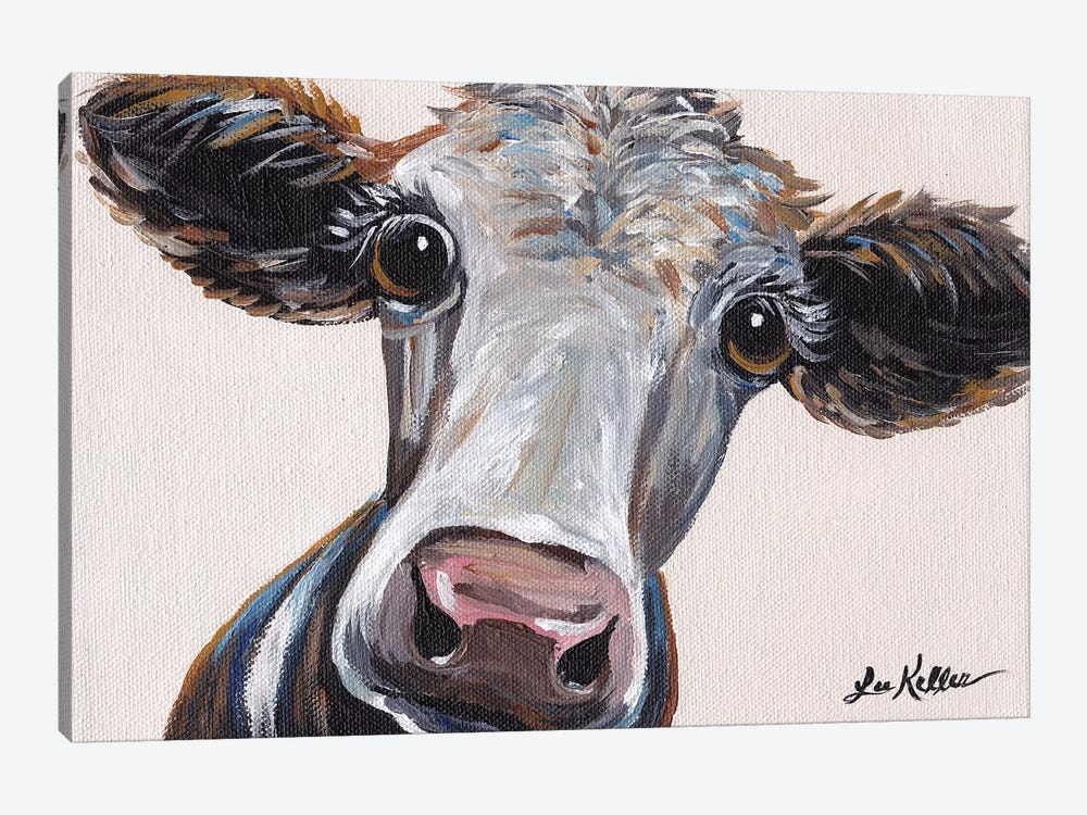 Cora The Cow On Neutral by Hippie Hound Studios 1-piece Canvas Print
