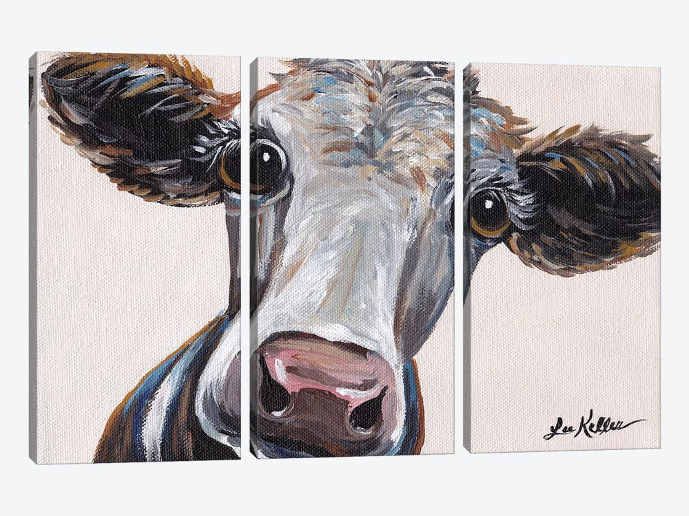 Cora The Cow On Neutral 3-piece Art Print