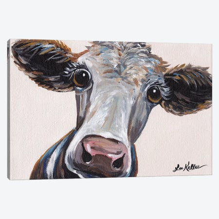 Cora The Cow On Neutral Canvas Print #HHS134} by Hippie Hound Studios Canvas Print