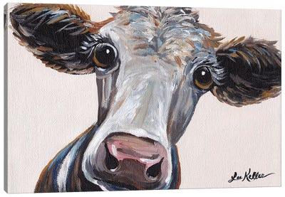 Cora The Cow On Neutral Canvas Art Print