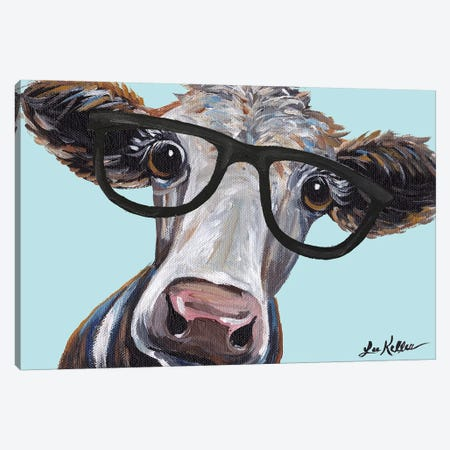 Cora The Cow With Glasses Canvas Print #HHS135} by Hippie Hound Studios Canvas Print