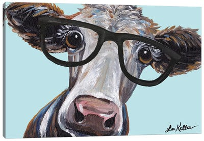 Cora The Cow With Glasses Canvas Art Print