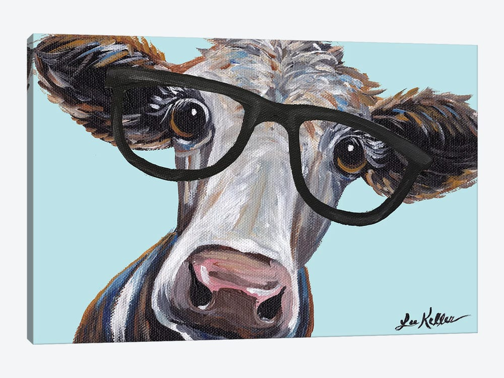 Cora The Cow With Glasses by Hippie Hound Studios 1-piece Canvas Wall Art