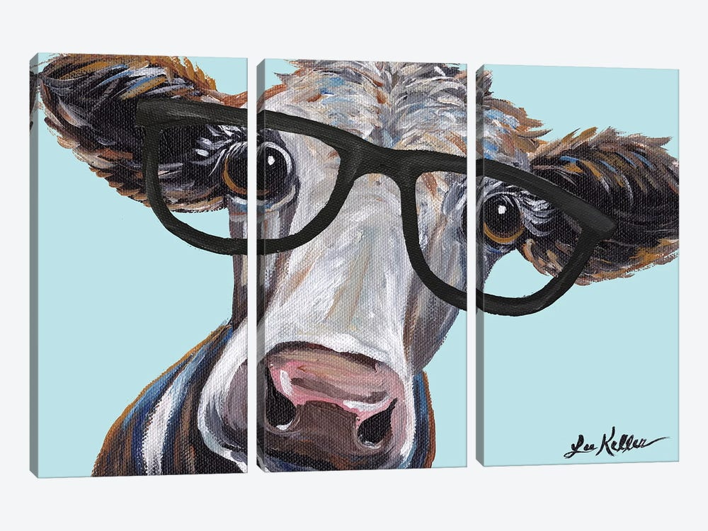 Cora The Cow With Glasses by Hippie Hound Studios 3-piece Canvas Artwork