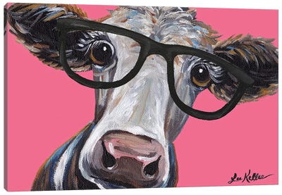 Cora The Cow With Glasses On Pink Canvas Art Print