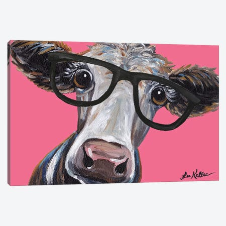Cora The Cow With Glasses On Pink Canvas Print #HHS136} by Hippie Hound Studios Art Print