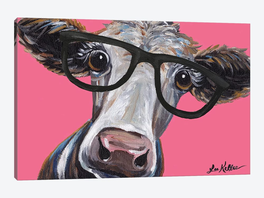Cora The Cow With Glasses On Pink by Hippie Hound Studios 1-piece Art Print
