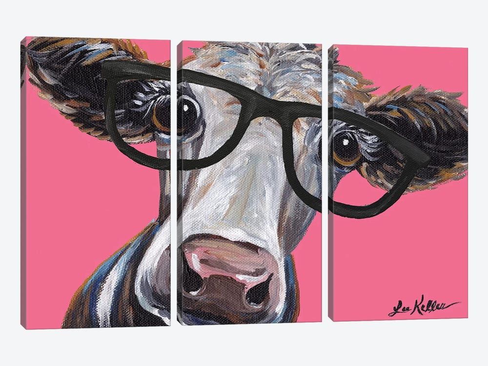 Cora The Cow With Glasses On Pink by Hippie Hound Studios 3-piece Art Print