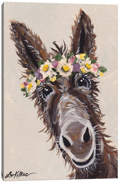 Donkey With Flower Crown Canvas Art Print