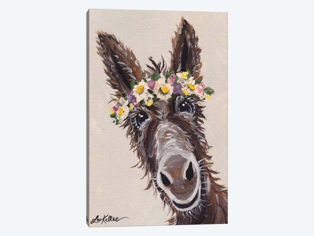 Donkey With Flower Crown 1-piece Canvas Artwork