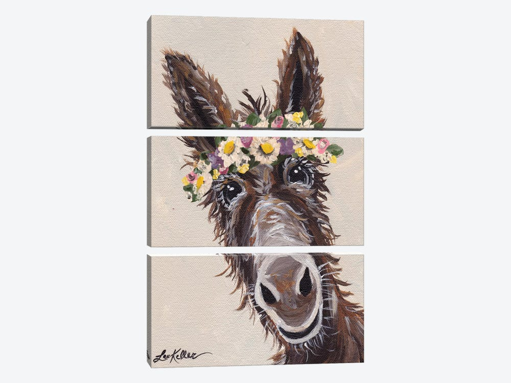 Donkey With Flower Crown by Hippie Hound Studios 3-piece Canvas Wall Art