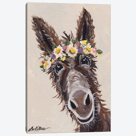 Donkey With Flower Crown Canvas Print #HHS137} by Hippie Hound Studios Canvas Art Print