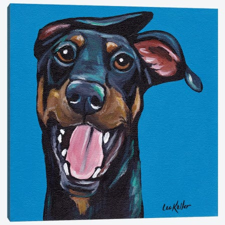 Fun Doberman Canvas Print #HHS139} by Hippie Hound Studios Canvas Art