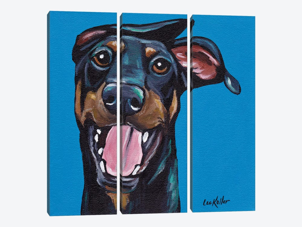 Fun Doberman by Hippie Hound Studios 3-piece Canvas Art