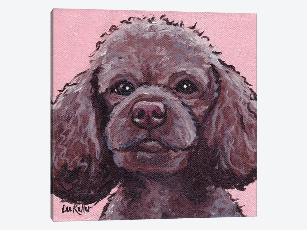 Maggie The Poodle On Pink by Hippie Hound Studios 1-piece Canvas Print