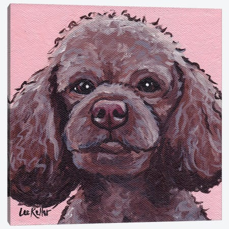 Maggie The Poodle On Pink Canvas Print #HHS141} by Hippie Hound Studios Canvas Art Print