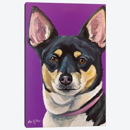 Rat Terrier On Purple 3-Piece Canvas #HHS146} by Hippie Hound Studios Canvas Art