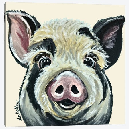 Sarge The Pig On Cream Canvas Print #HHS149} by Hippie Hound Studios Art Print