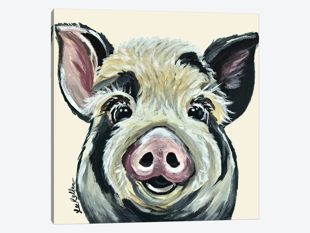 Sarge The Pig On Cream by Hippie Hound Studios 1-piece Canvas Art Print
