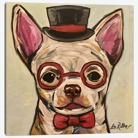 Chihuahua With Glasses Canvas Print #HHS14} by Hippie Hound Studios Canvas Wall Art