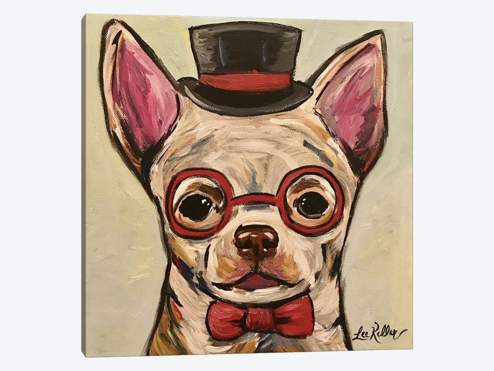 Chihuahua With Glasses by Hippie Hound Studios 1-piece Canvas Art Print