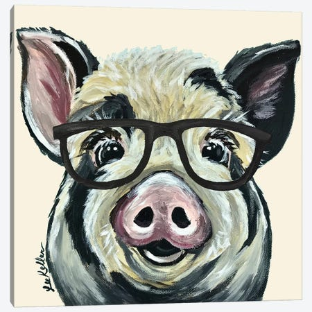 Sarge The Pig With Glasses On Cream Canvas Print #HHS150} by Hippie Hound Studios Canvas Art