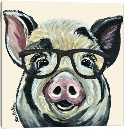 Sarge The Pig With Glasses On Cream Canvas Art Print