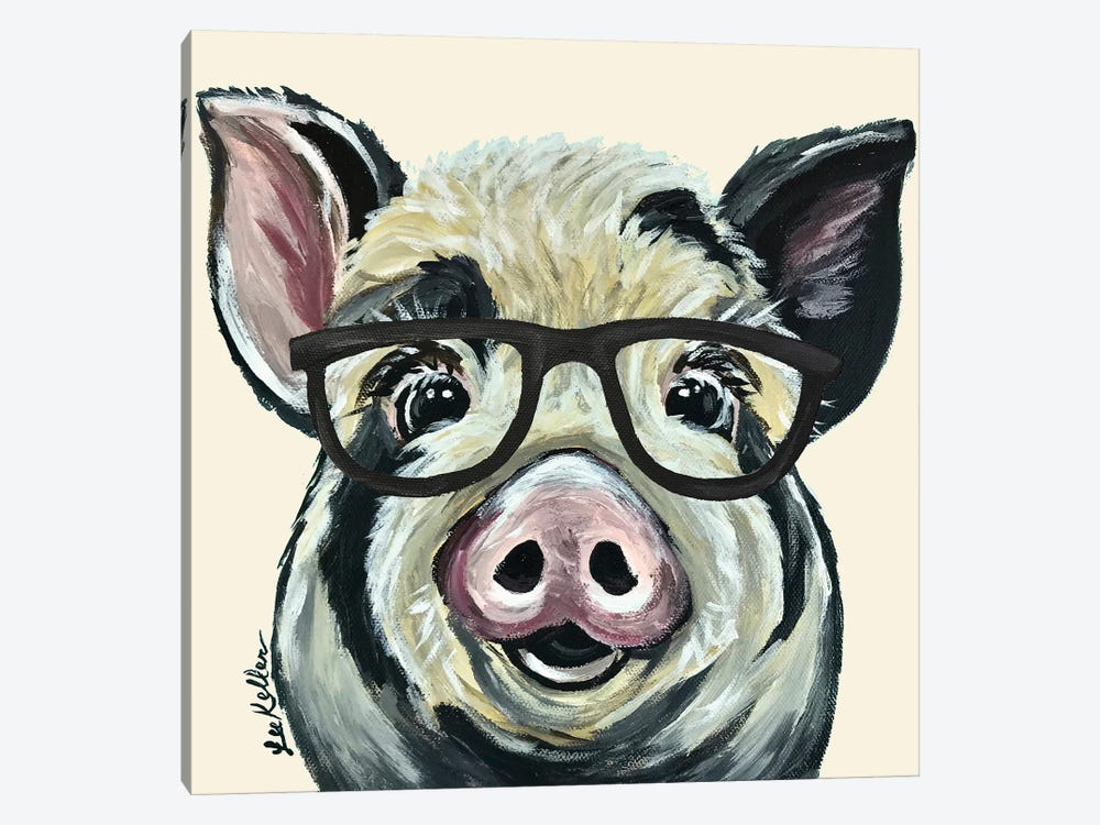 Sarge The Pig With Glasses On Cream by Hippie Hound Studios 1-piece Canvas Art Print