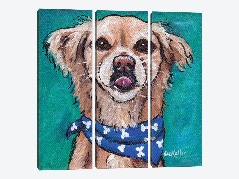 Transom The Rescue Dog by Hippie Hound Studios 3-piece Canvas Artwork