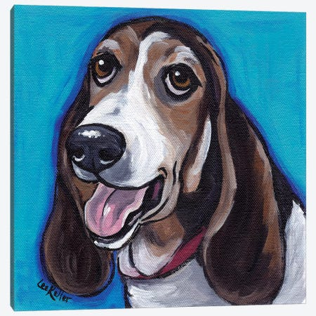 Basset Hound Roxie Canvas Print #HHS153} by Hippie Hound Studios Canvas Wall Art