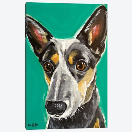 Cows Australian Cattle Dog Canvas Print #HHS155} by Hippie Hound Studios Art Print