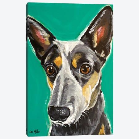 Cows Australian Cattle Dog Canvas Print #HHS155} by Hippie Hound Studios Art Print
