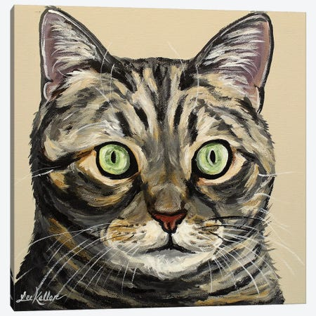 Tabby Cat Tan Canvas Print #HHS167} by Hippie Hound Studios Canvas Wall Art
