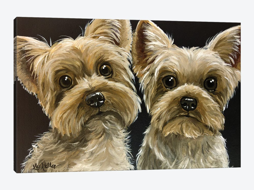 Two Yorkies by Hippie Hound Studios 1-piece Art Print