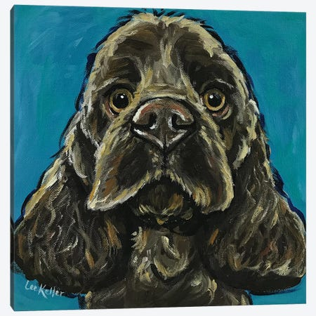 Cocker Spaniel On Teal Canvas Print #HHS16} by Hippie Hound Studios Canvas Wall Art
