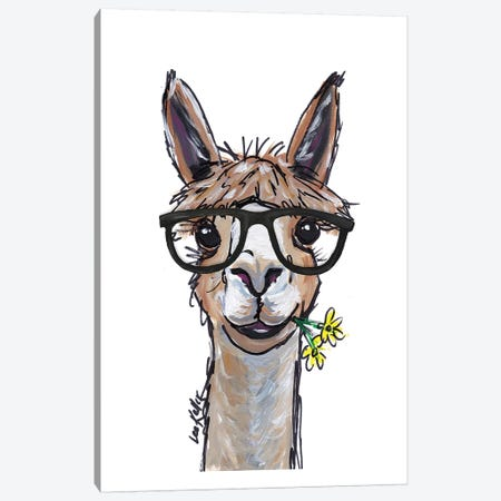 Alpaca - Lycoming Glasses Canvas Print #HHS172} by Hippie Hound Studios Canvas Wall Art