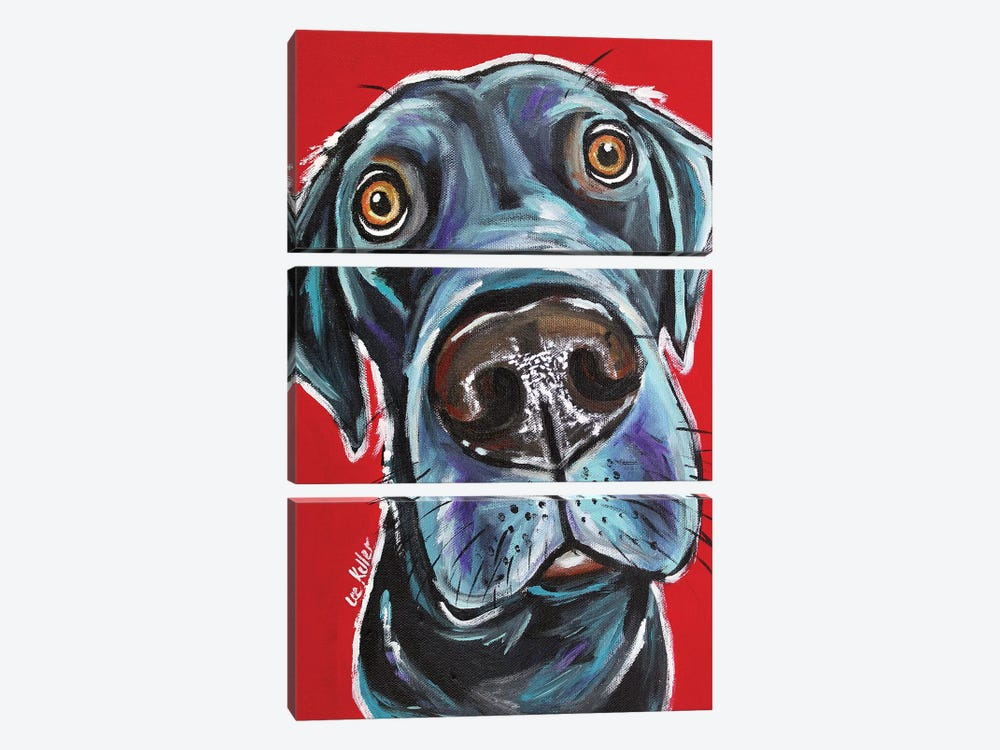 Black Lab - Arlo by Hippie Hound Studios 3-piece Canvas Print