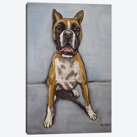 Boxer On Blue Canvas Print #HHS179} by Hippie Hound Studios Canvas Artwork
