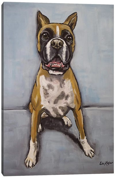 Boxer On Blue Canvas Art Print