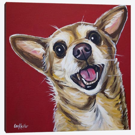 Chihuahua - Happy Canvas Print #HHS182} by Hippie Hound Studios Art Print