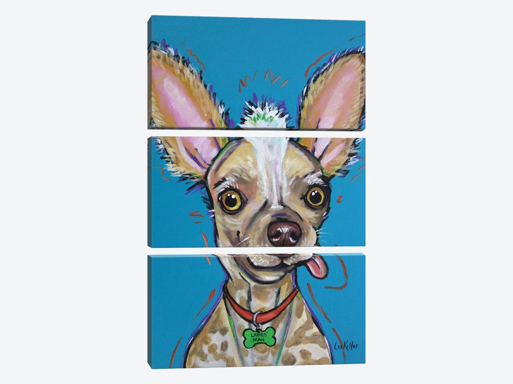 Chinese Crested - Spike by Hippie Hound Studios 3-piece Canvas Art Print