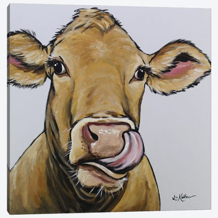 Cow - Daisy Canvas Print #HHS186} by Hippie Hound Studios Canvas Artwork