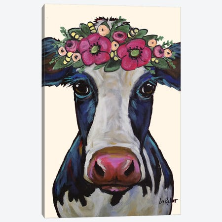 Cow - Georgia Flower Crown Canvas Print #HHS188} by Hippie Hound Studios Art Print